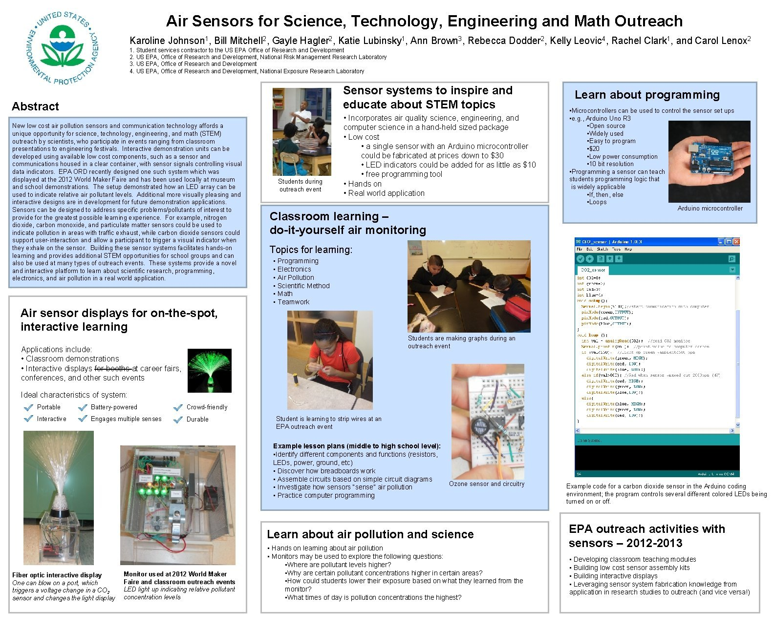 Air Sensors for Science Technology Engineering and Math