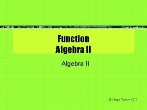 Function Algebra II By Irma Crespo 2010 Matching