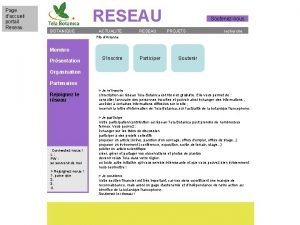 Page daccueil portail Reseau RESEAU BOTANIQUE ACTUALITE RESEAU