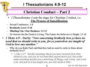 I Thessalonians 4 9 12 Christian Conduct Part
