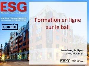 Formation en ligne sur le bail JeanFranois Bigras