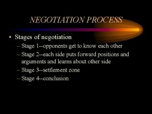 NEGOTIATION PROCESS Stages of negotiation Stage 1 opponents