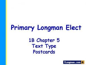 Primary Longman Elect 1 B Chapter 5 Text