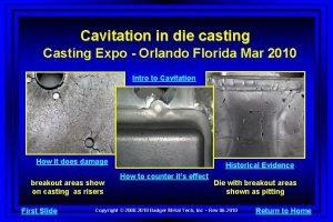 Cavitation in die casting Casting Expo Orlando Florida