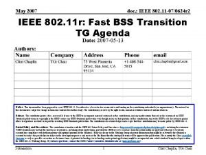 May 2007 doc IEEE 802 11 070624 r