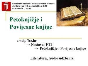 Filozofskoteoloki institut Drube Isusove Jordanovac 110 ponedjeljkom 8