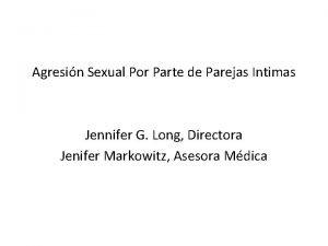 Agresin Sexual Por Parte de Parejas Intimas Jennifer