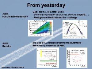 From yesterday Jet II Full Jet Reconstruction Goal