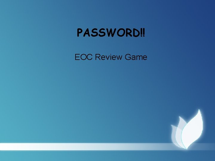PASSWORD EOC Review Game The Jungle 25 Pure
