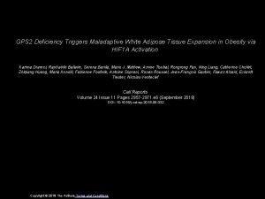 GPS 2 Deficiency Triggers Maladaptive White Adipose Tissue