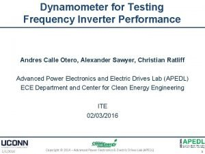 Dynamometer for Testing Frequency Inverter Performance Andres Calle