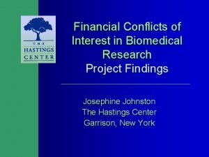 Financial Conflicts of Interest in Biomedical Research Project