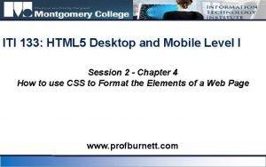 ITI 133 HTML 5 Desktop and Mobile Level