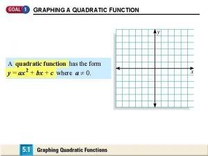 GRAPHING A QUADRATIC FUNCTION A quadratic function has