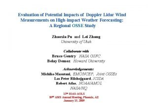 Evaluation of Potential Impacts of Doppler Lidar Wind