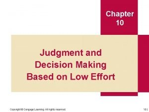 Chapter 10 Judgment and Decision Making Based on