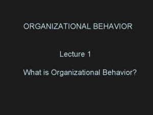 ORGANIZATIONAL BEHAVIOR Lecture 1 What is Organizational Behavior