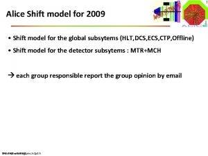 1 Alice Shift model for 2009 Shift model