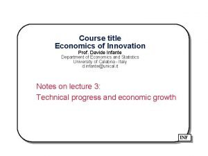 Course title Economics of Innovation Prof Davide Infante