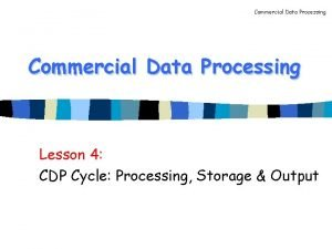Commercial Data Processing Lesson 4 CDP Cycle Processing