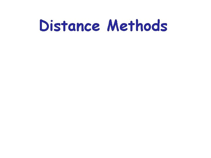 Distance Methods Distance Methods Distance Estimates attempt to