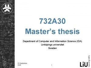 732 A 30 Masters thesis Department of Computer