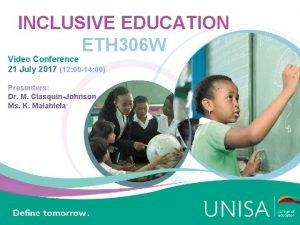 INCLUSIVE EDUCATION ETH 306 W Video Conference 21