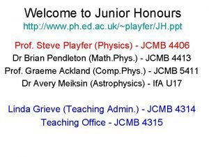Welcome to Junior Honours http www ph ed