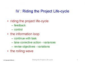 IV Riding the Project Lifecycle riding the project
