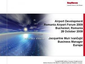 Airport Development Romania Airport Forum 2009 Bucharest Romania
