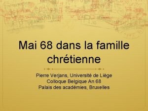 Mai 68 dans la famille chrtienne Pierre Verjans