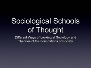 Sociological Schools of Thought Different Ways of Looking