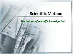 Scientific Method The process of scientific investigations What