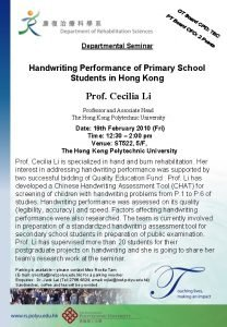 Departmental Seminar Handwriting Performance of Primary School Students