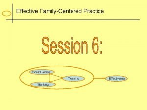 Effective FamilyCentered Practice Individualizing Teaming Thinking Effectiveness Culture
