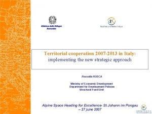 Ministero dello Sviluppo Economico Territorial cooperation 2007 2013