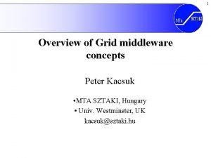 1 Overview of Grid middleware concepts Peter Kacsuk