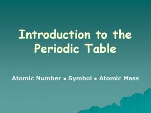 Introduction to the Periodic Table Atomic Number Symbol