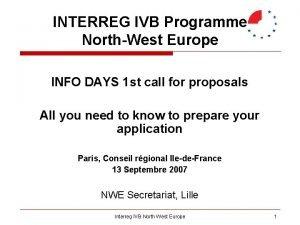 INTERREG IVB Programme NorthWest Europe INFO DAYS 1