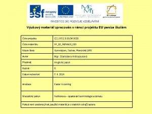 Vukov materil zpracovn v rmci projektu EU penze