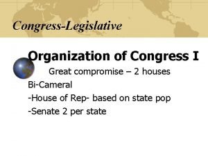 CongressLegislative Organization of Congress I Great compromise 2