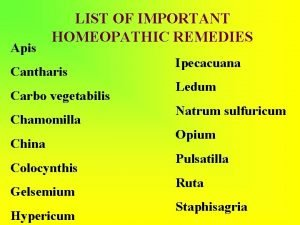 Apis LIST OF IMPORTANT HOMEOPATHIC REMEDIES Cantharis Carbo