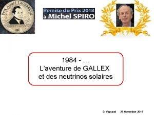 1984 Laventure de GALLEX et des neutrinos solaires