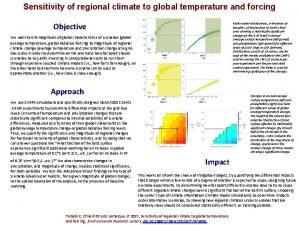 Sensitivity of regional climate to global temperature and