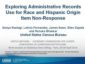 Exploring Administrative Records Use for Race and Hispanic