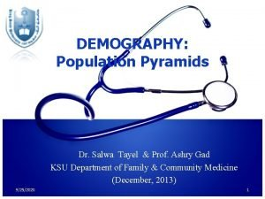 DEMOGRAPHY Population Pyramids Dr Salwa Tayel Prof Ashry