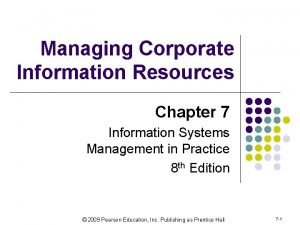 Managing Corporate Information Resources Chapter 7 Information Systems