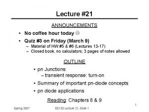 Lecture 21 ANNOUNCEMENTS No coffee hour today Quiz