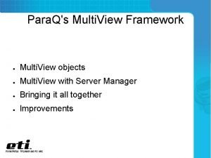 Para Qs Multi View Framework Multi View objects