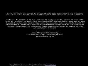 A comprehensive analysis of the COL 29 A